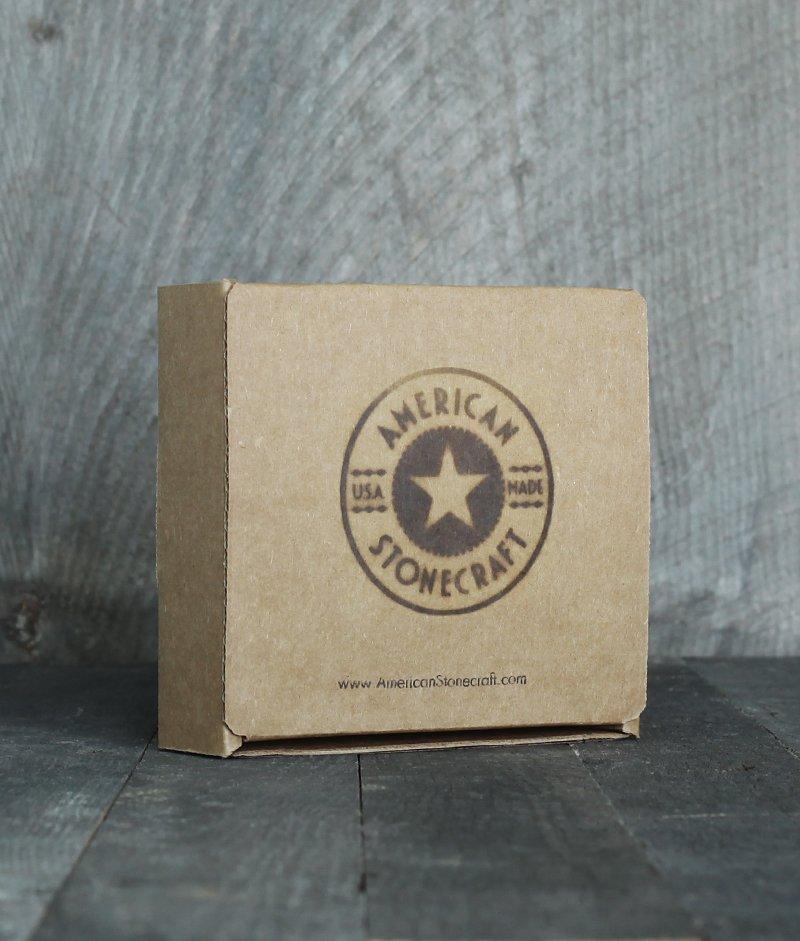 American Stonecraft packaging branded box for handmade fieldstone coaster
