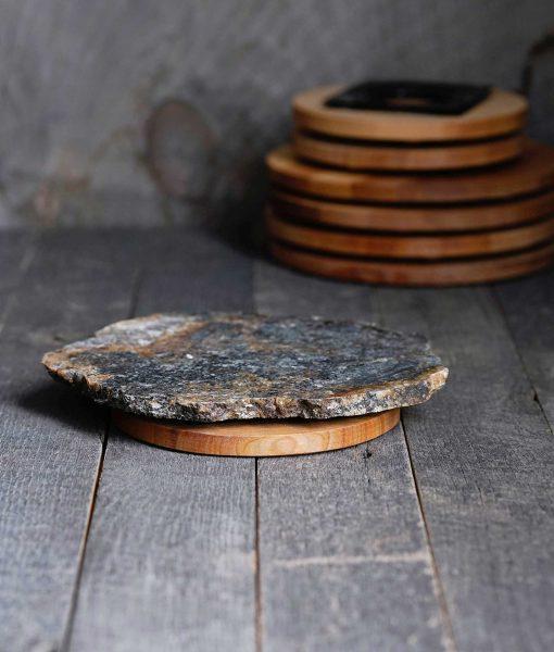 fieldstone rock lazy susan handmade wood base usa american artisan