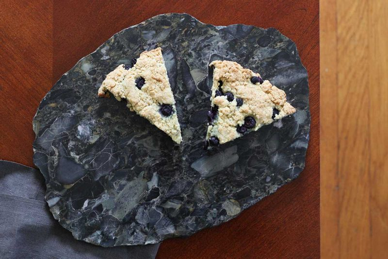 blueberry scones pudding stone fieldstone serving plate